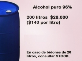 Alcohol puro 96% (certificado)